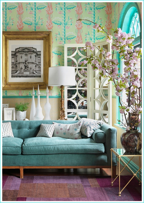 heidi-pribell-interior-design-turquoise-mid-century-sofa-graphic-pink-wallpaper-design